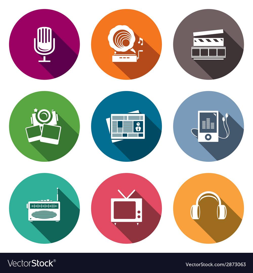 Media flat icon set - video news music TV