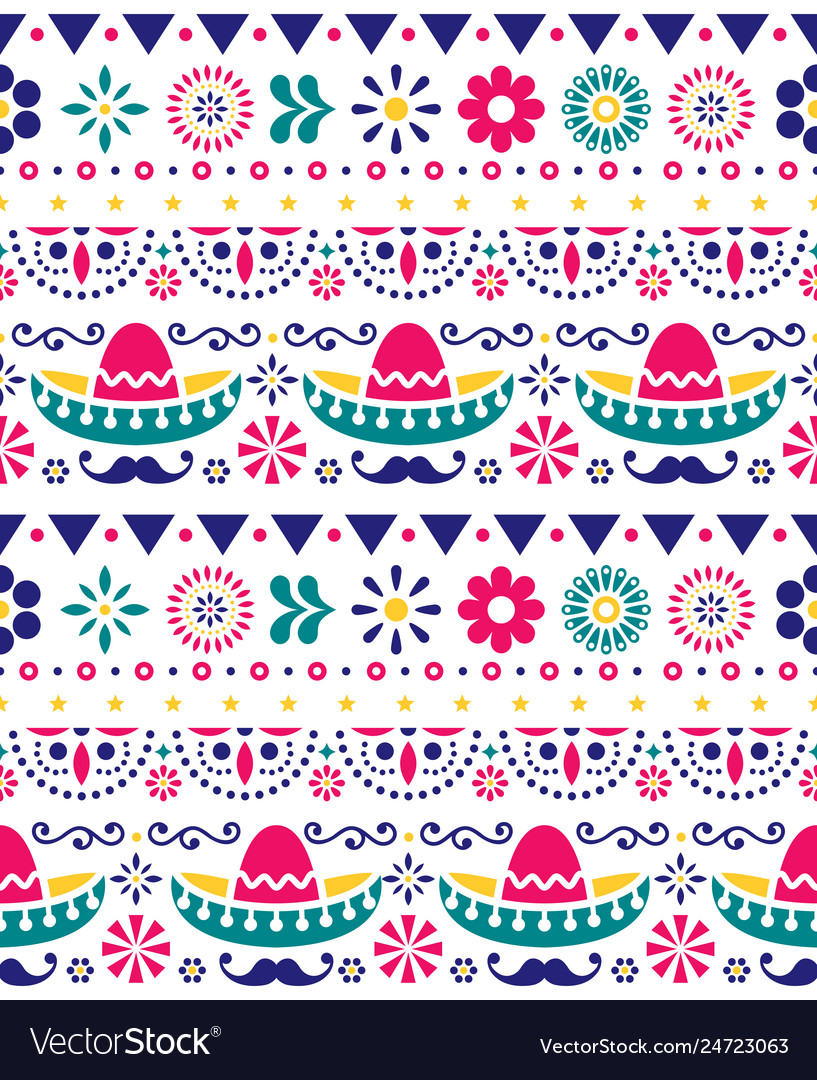 Mexican hat sombrero and mustache seamless pattern
