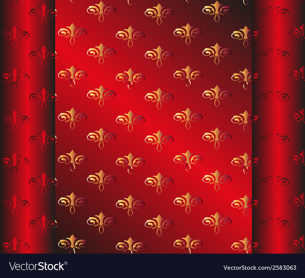 Seamless Dark Red Wallpaper Yellow Floral Vector Image