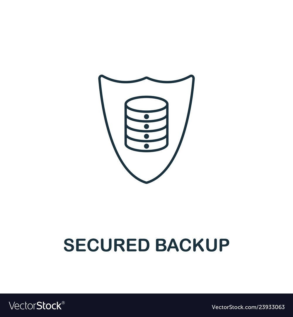 Secured backup outline icon thin line style from