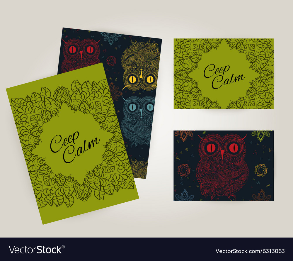 Set of brochures in doodle ornamental style with vector image