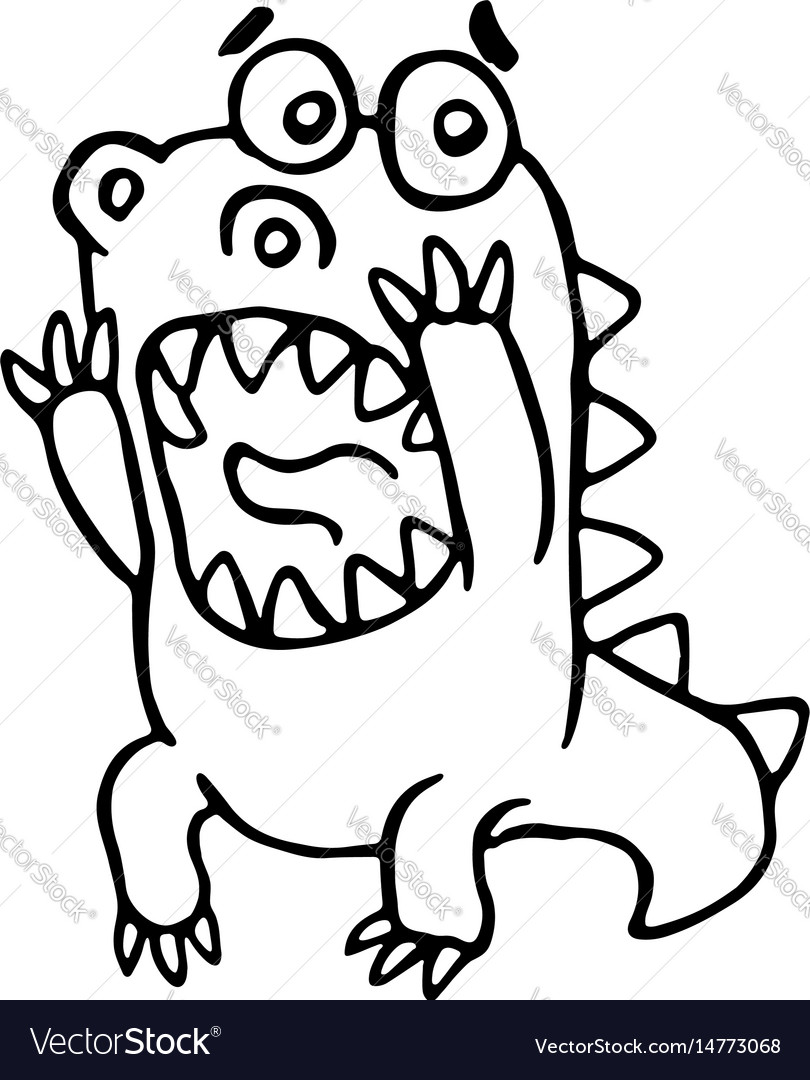 Cartoon screaming dragon