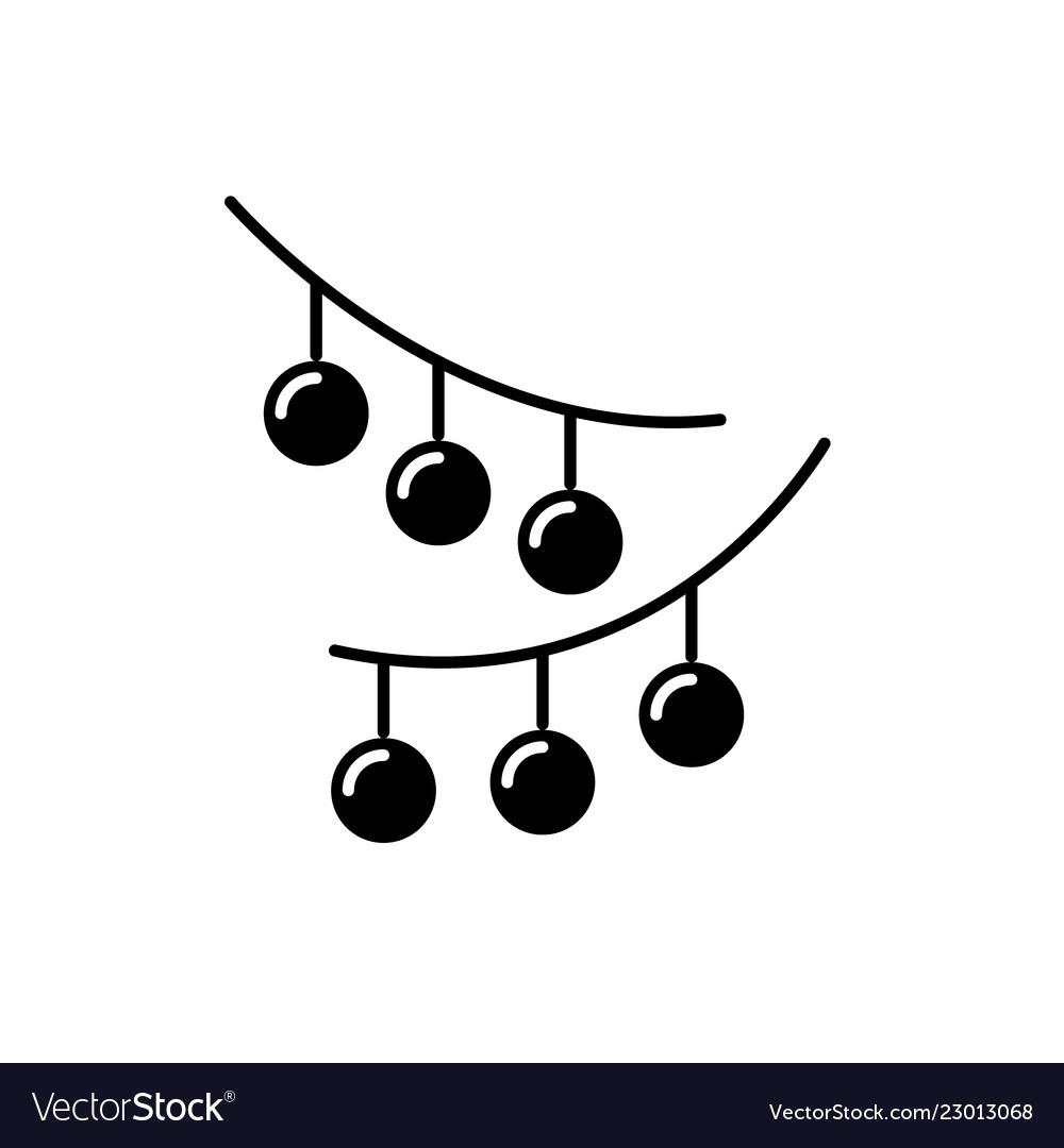 Christmas lights black icon sign on