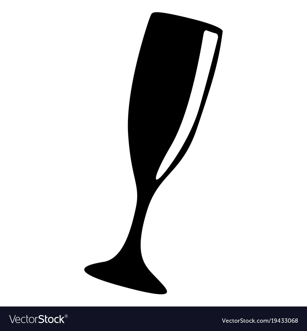 Cocktail glass silhouette vector image