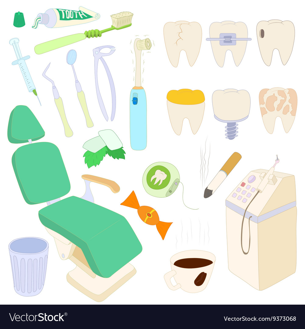 Dental icons set cartoon style
