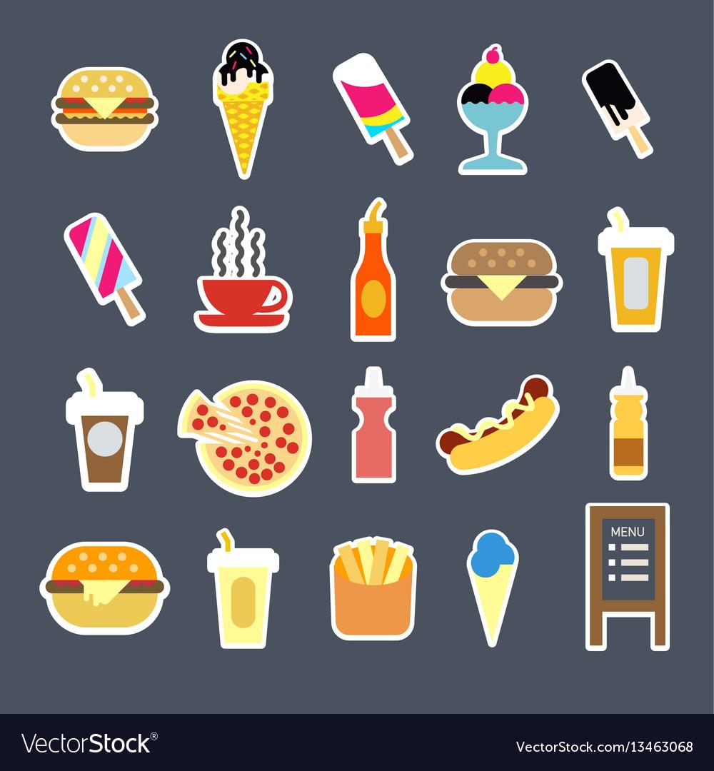 Fast food menu burgers drinks or desserts