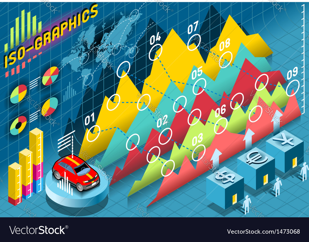 Isometric Infographic Histogram Set Elements with