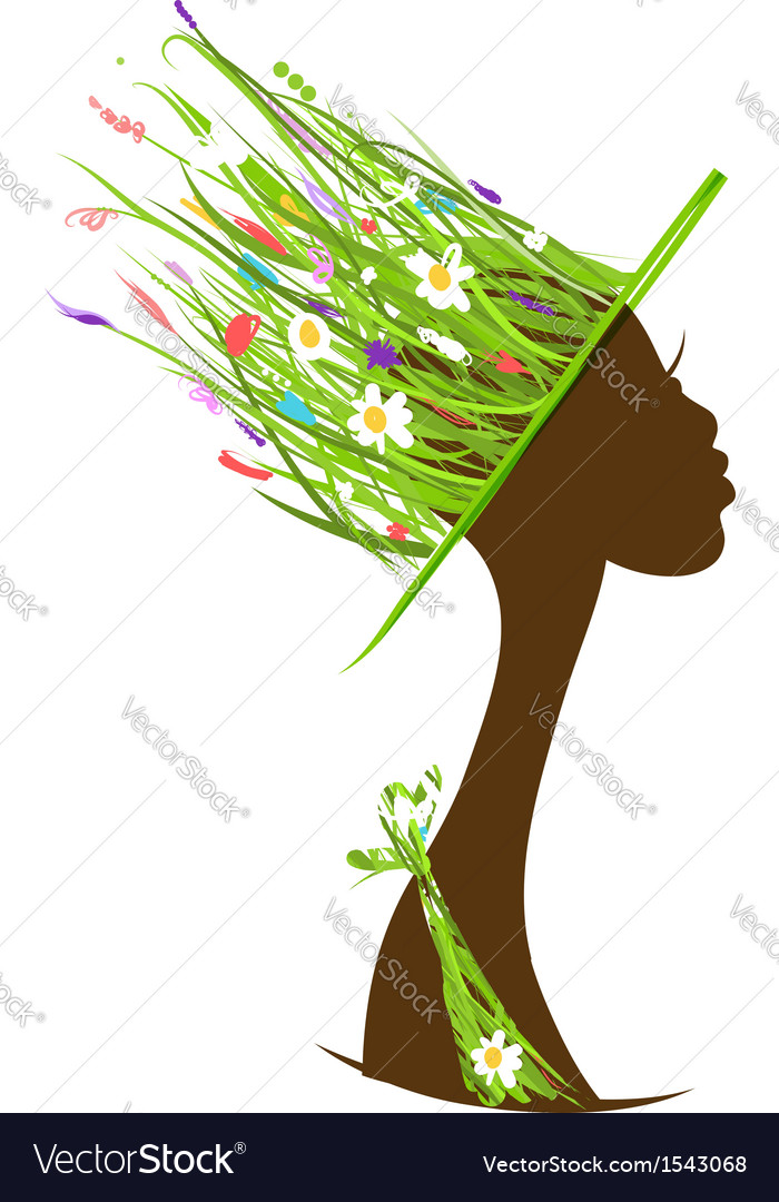 Organic hair care concept female head with hat vector image