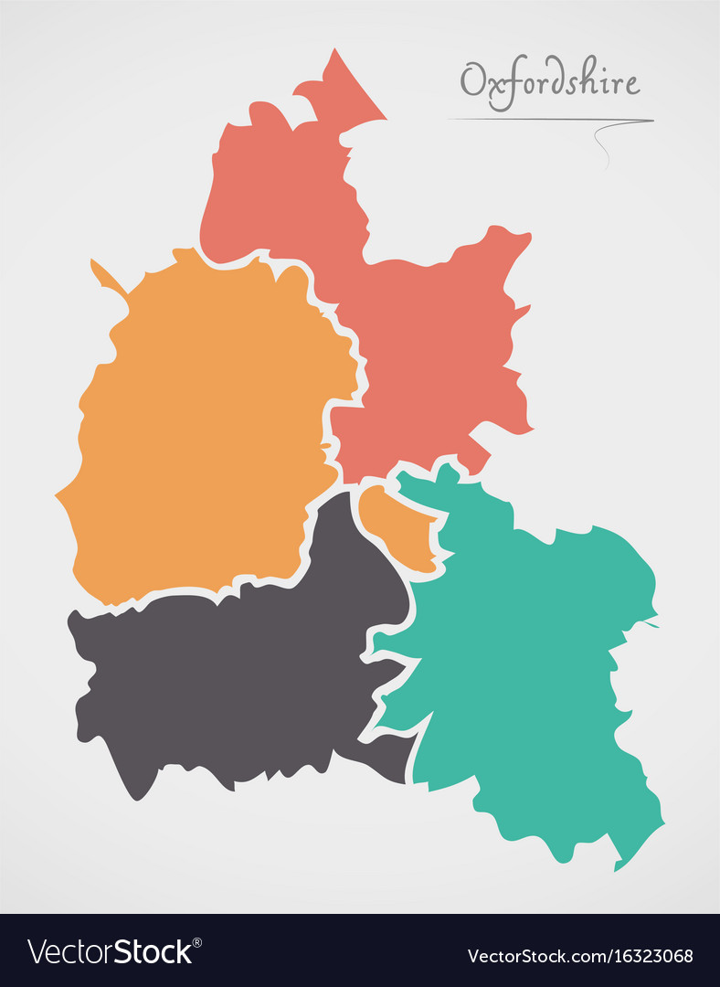 Oxfordshire England Map With States And Modern Vector Image