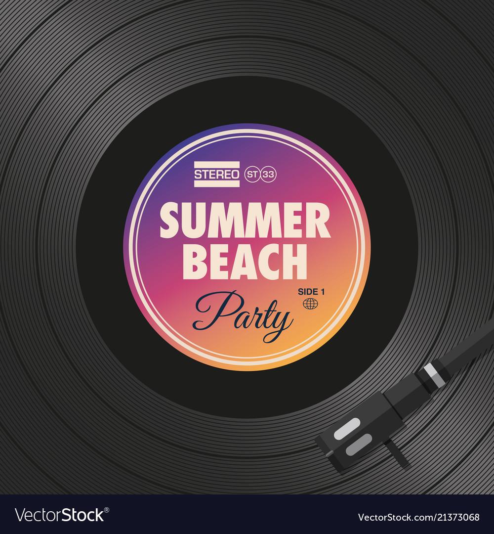 Poster-flyer-summer-beach-party-vinyl-style
