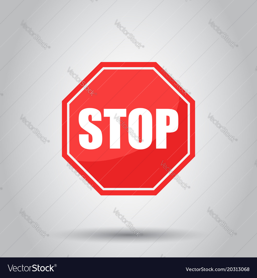 red stop sign icon danger symbol royalty free vector image rh vectorstock com stop sign vector png stop sign vector art free