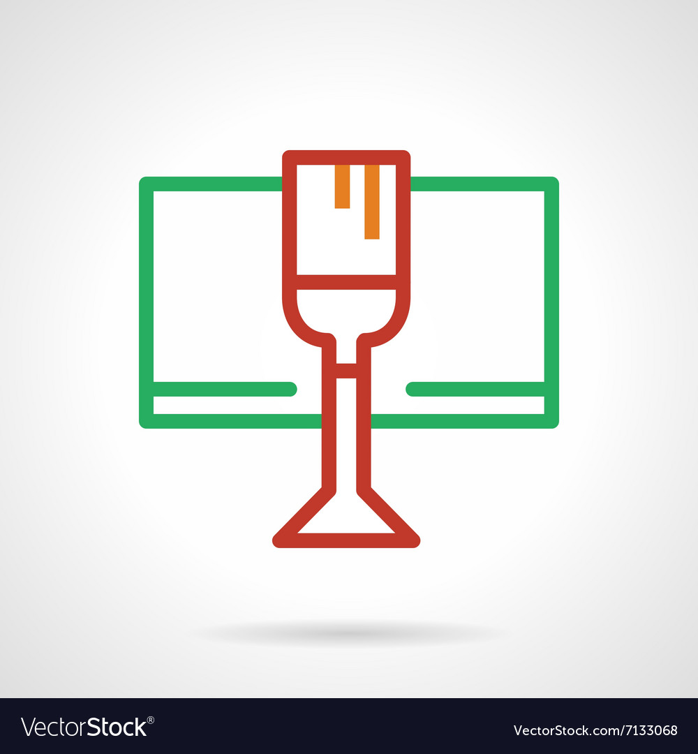 Red wine glass simple color line icon