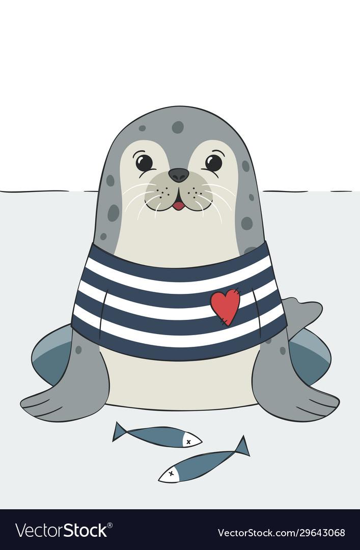 Seal cute sea lion animal in sailor t-shirt