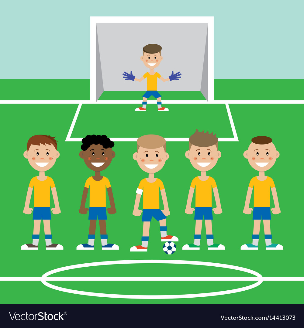 A Children S Football Team Royalty Free Vector Image