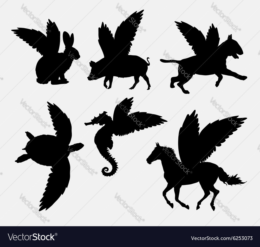 Animal with wings silhouette vector image