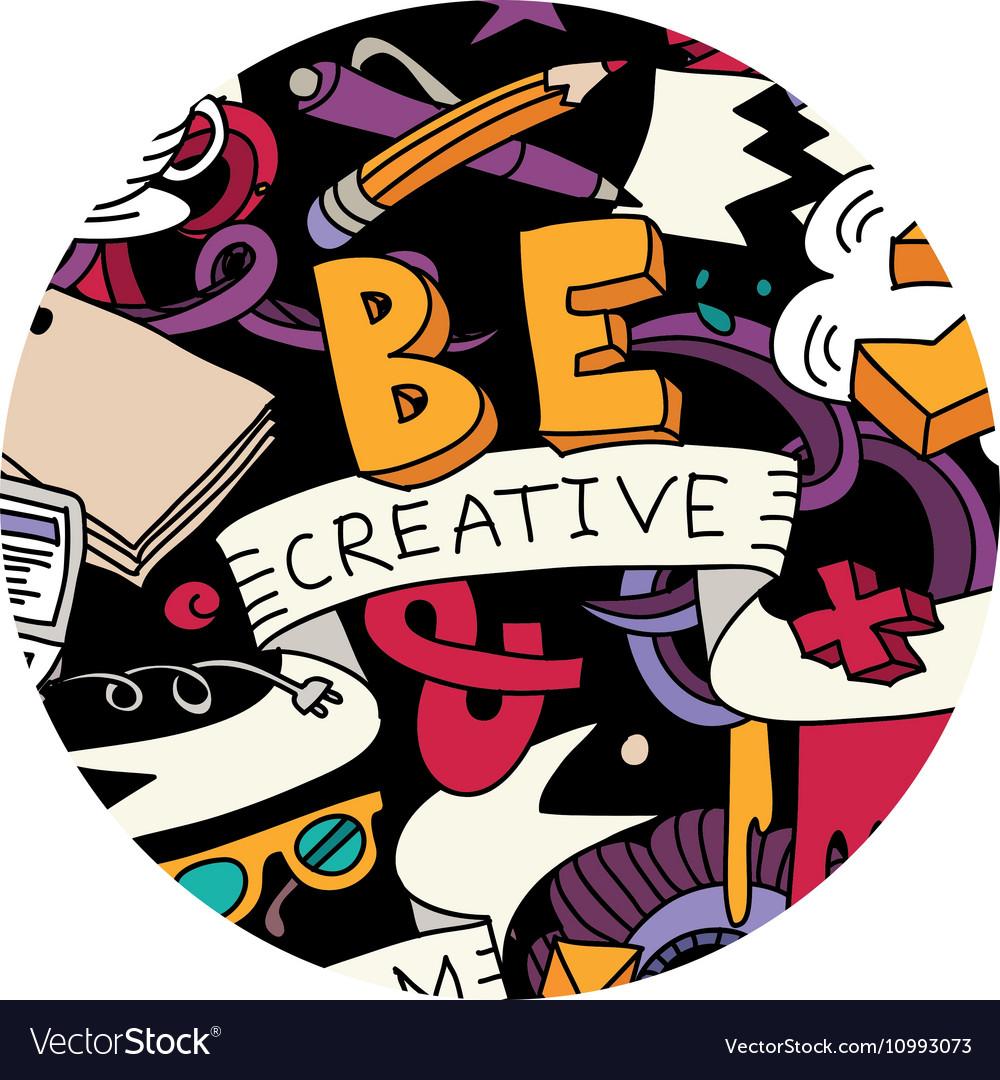 Creative pen idea doodles symbol round color
