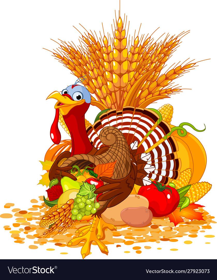 Cute turkey with cornucopia