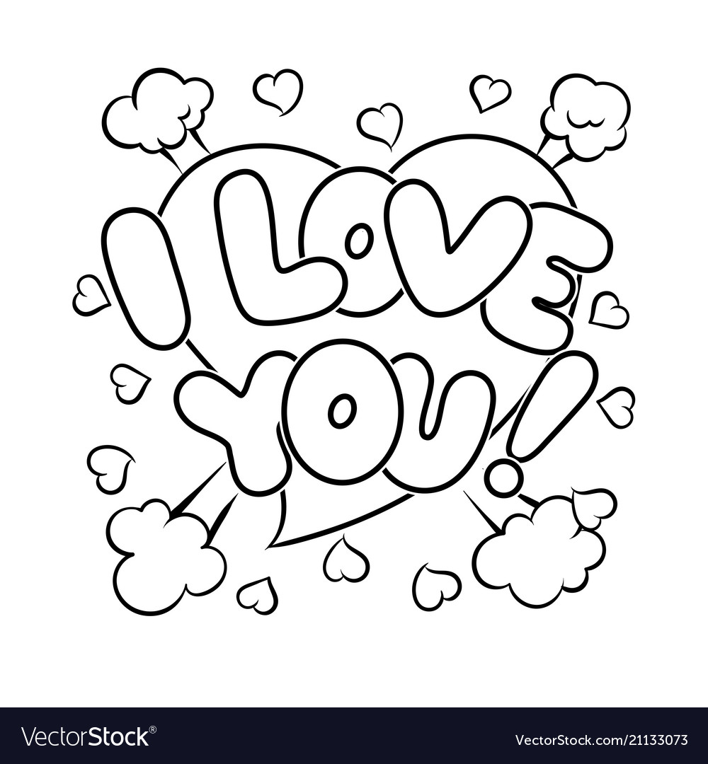 I love you words comic book coloring Royalty Free Vector