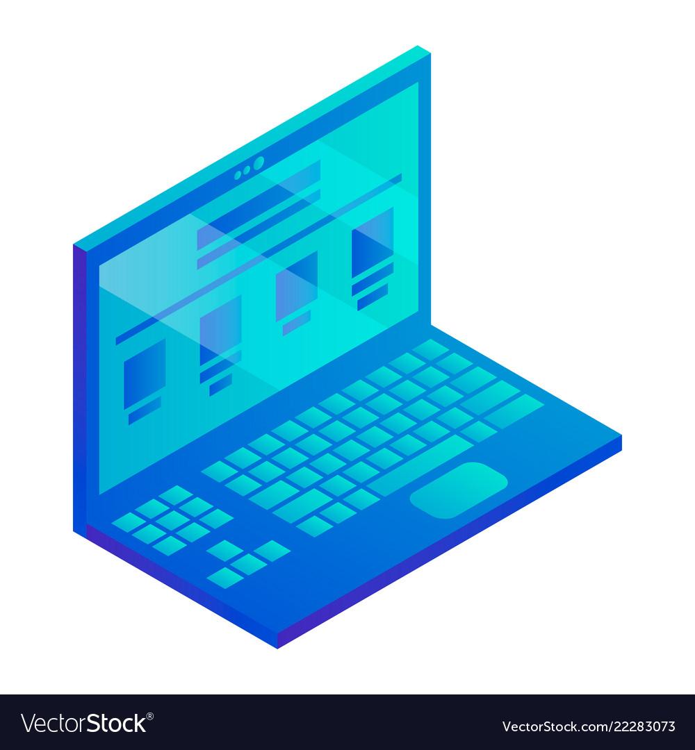 Laptop icon isometric style