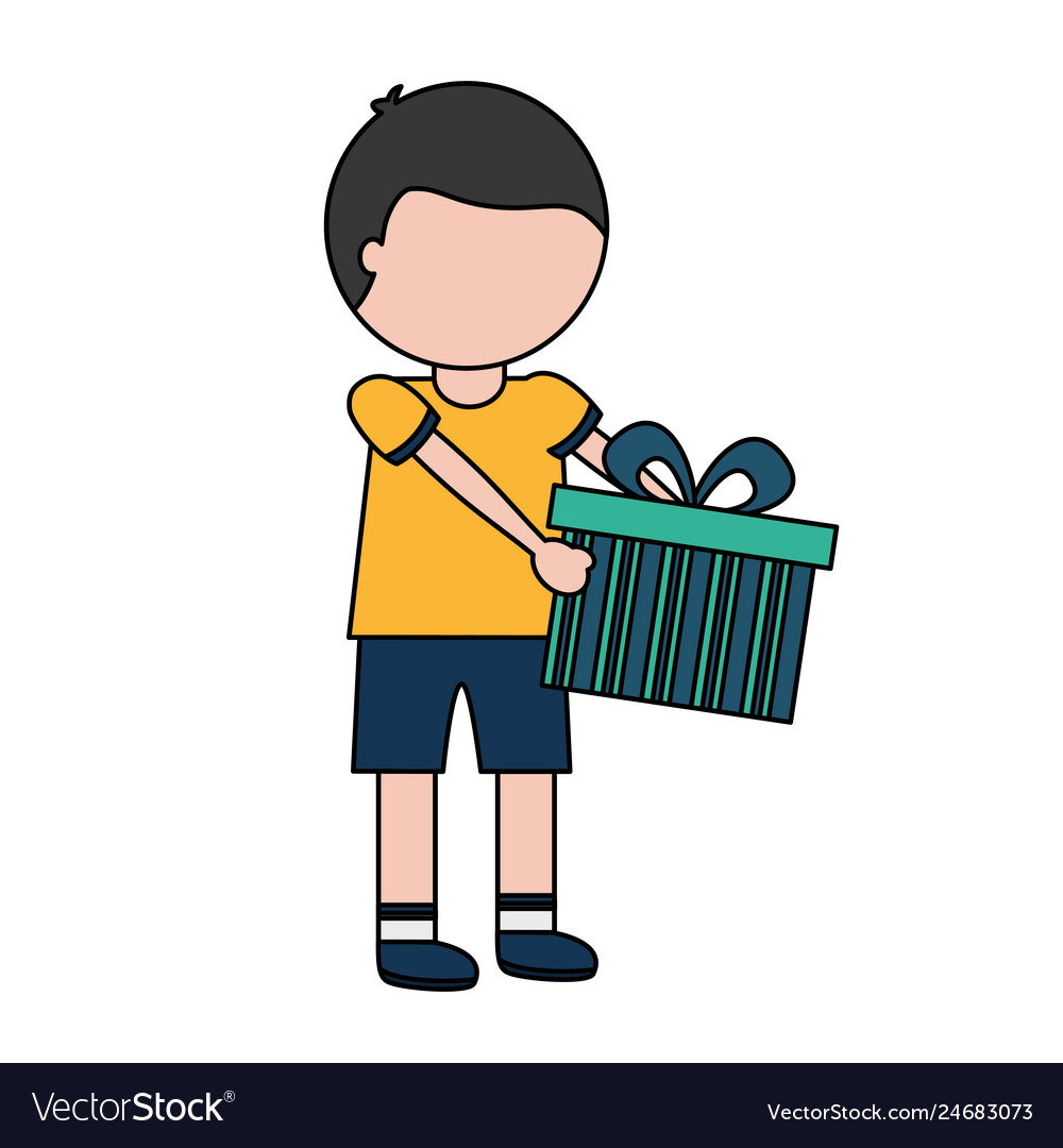 Little Boy Holding Birthday Gift Vector Image