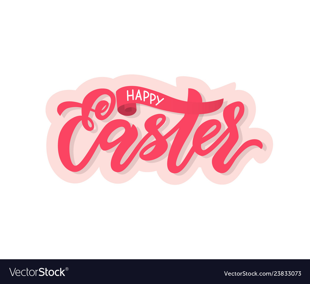Modern calligraphy lettering happy easter on pink