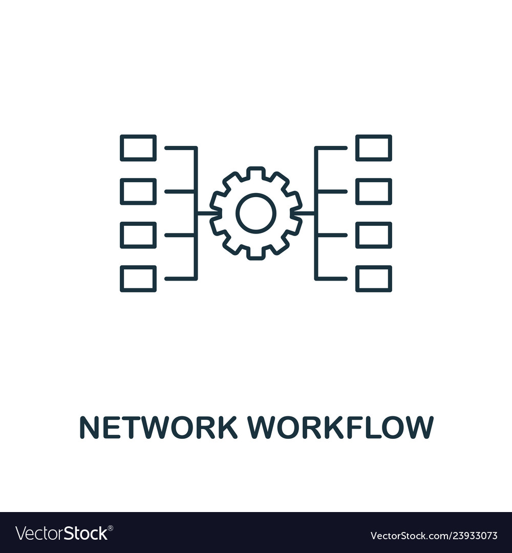 Network workflow outline icon thin line style