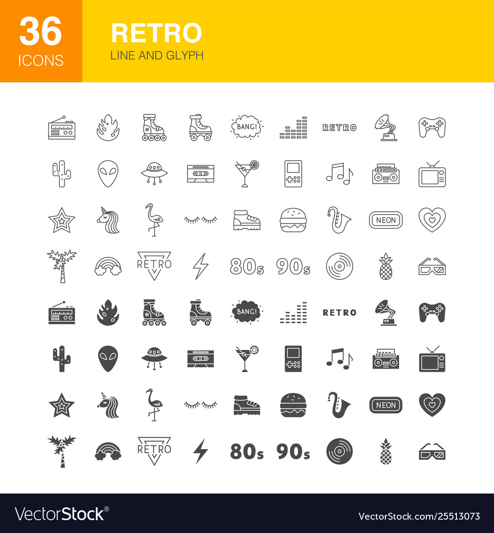 Retro line web glyph icons