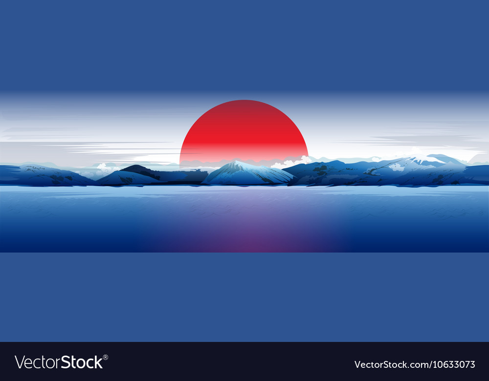 Sea Mountains And Red Sun