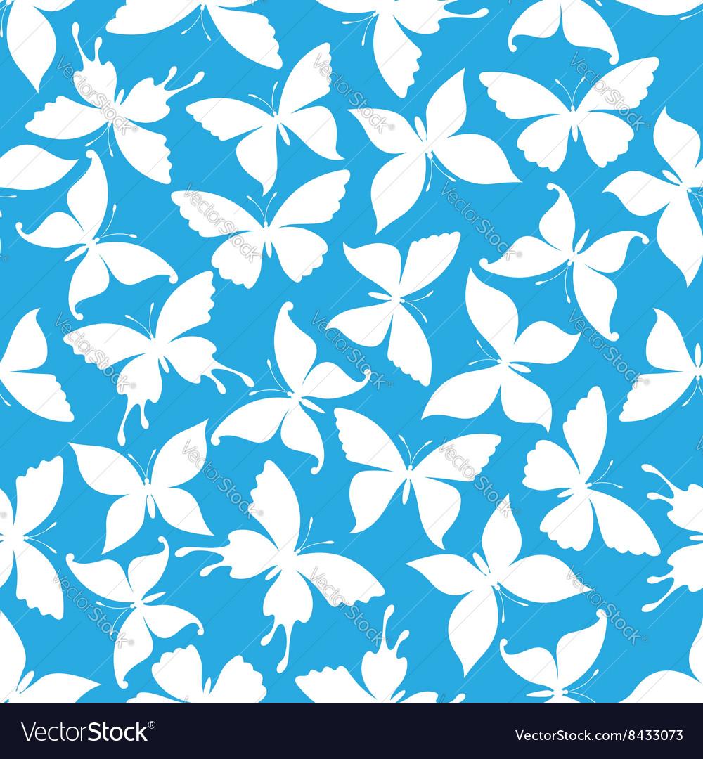 Seamless white flying butterflies pattern