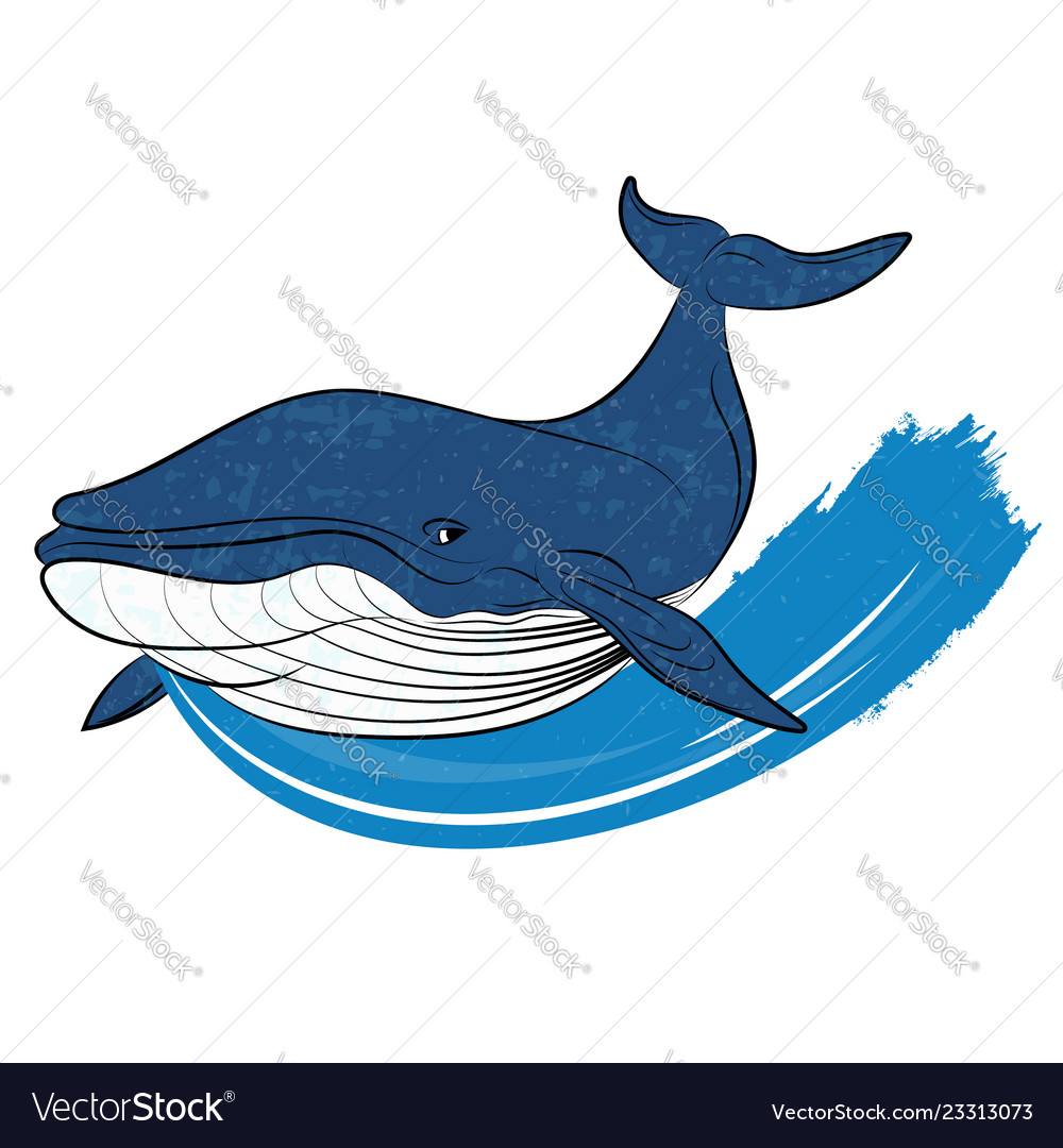 Whale on a blue wave