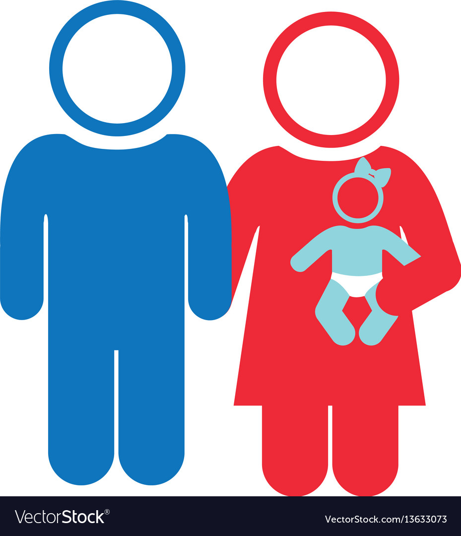 White background of pictogram with couple and baby