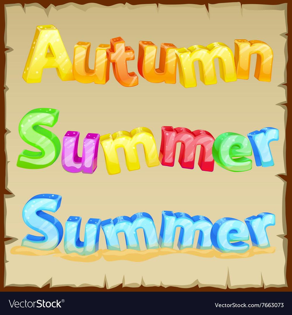 Words summer and autumn the colored letters