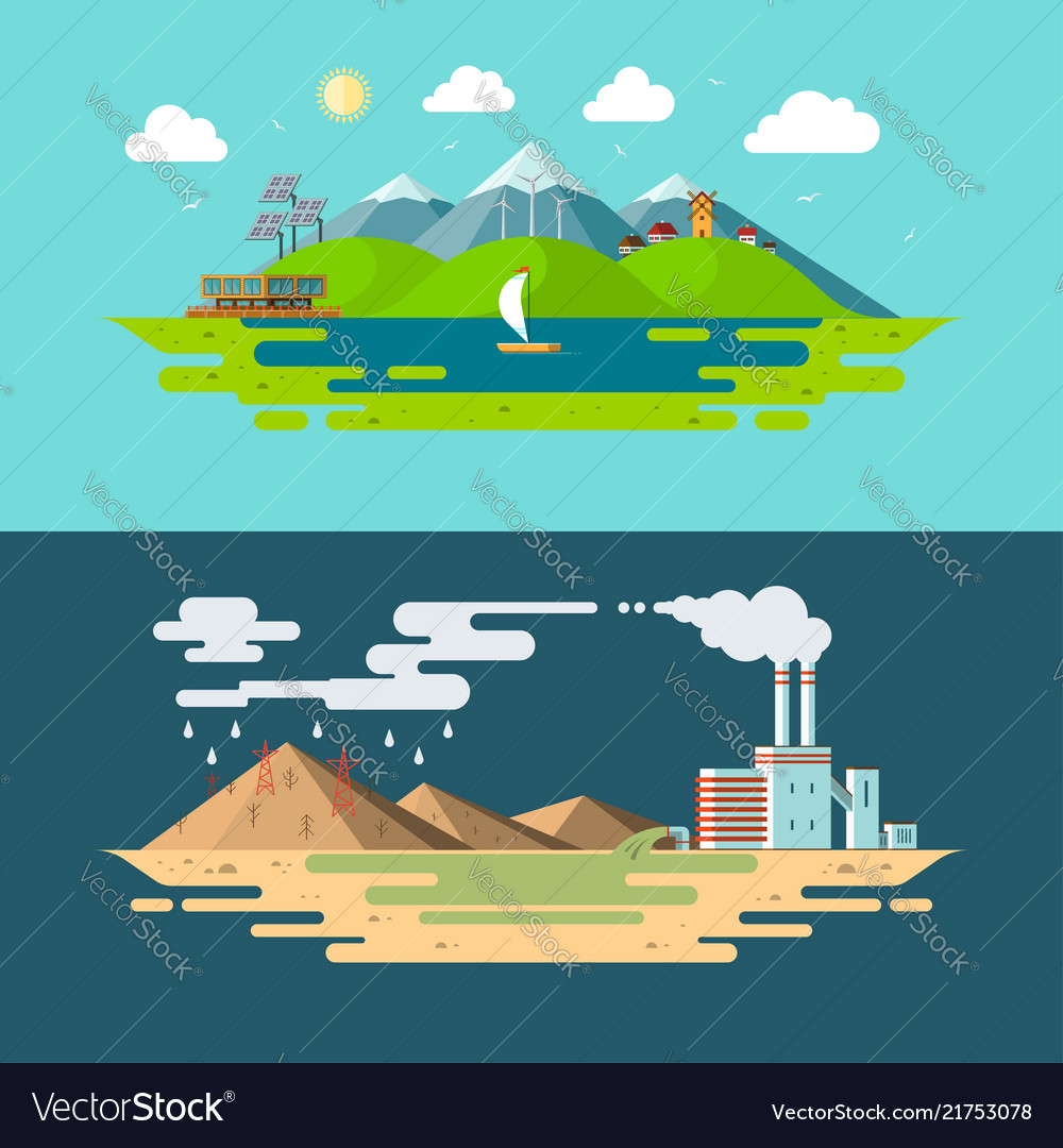Ecology concept in flat design style