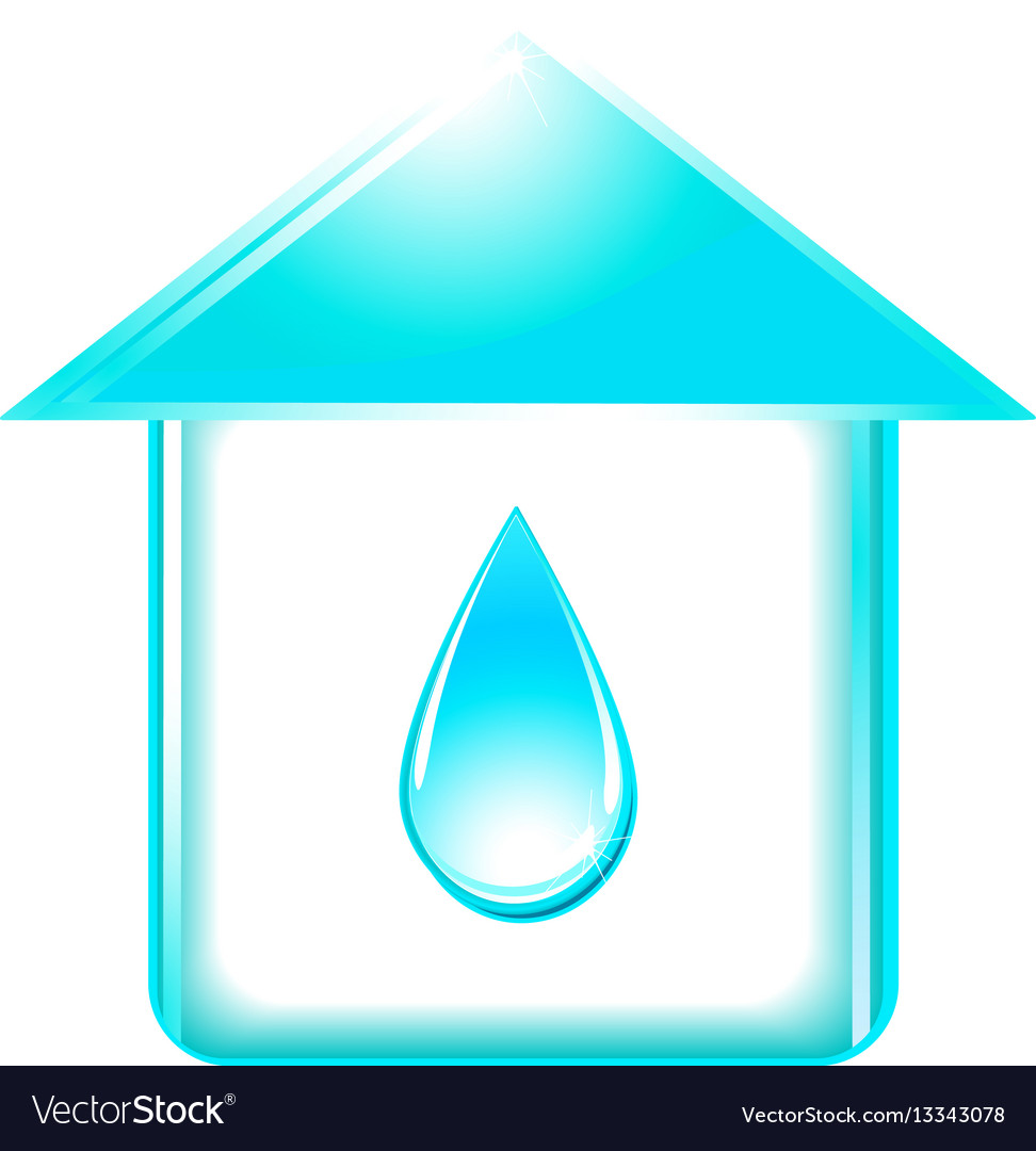 House and glossy water drop