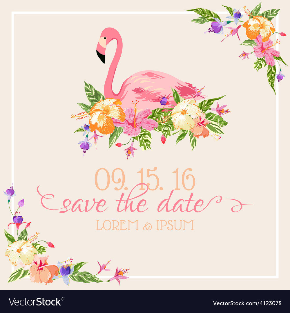 Beach Theme Card Stock: Flamingo Theme Royalty Free Vector