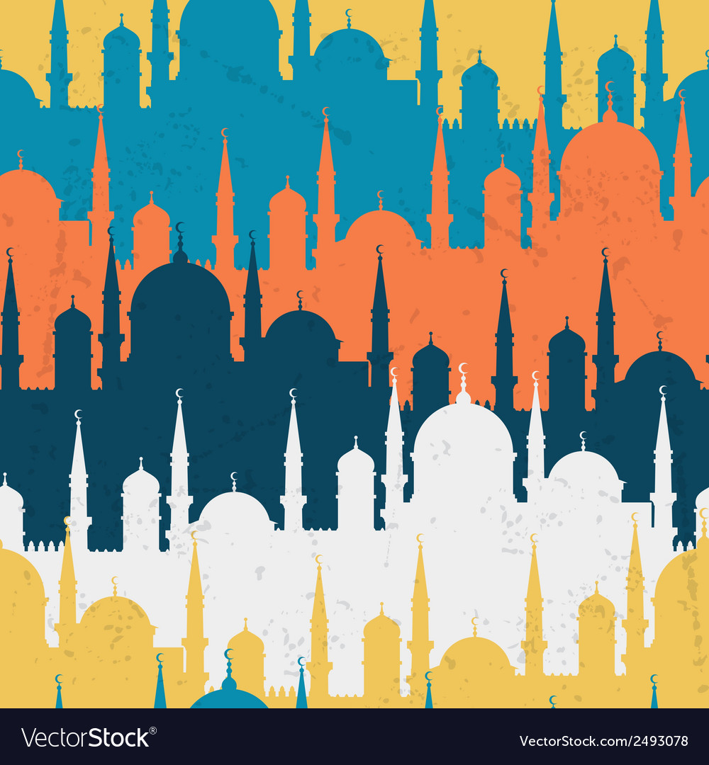Islamic seamless pattern with mosques in flat