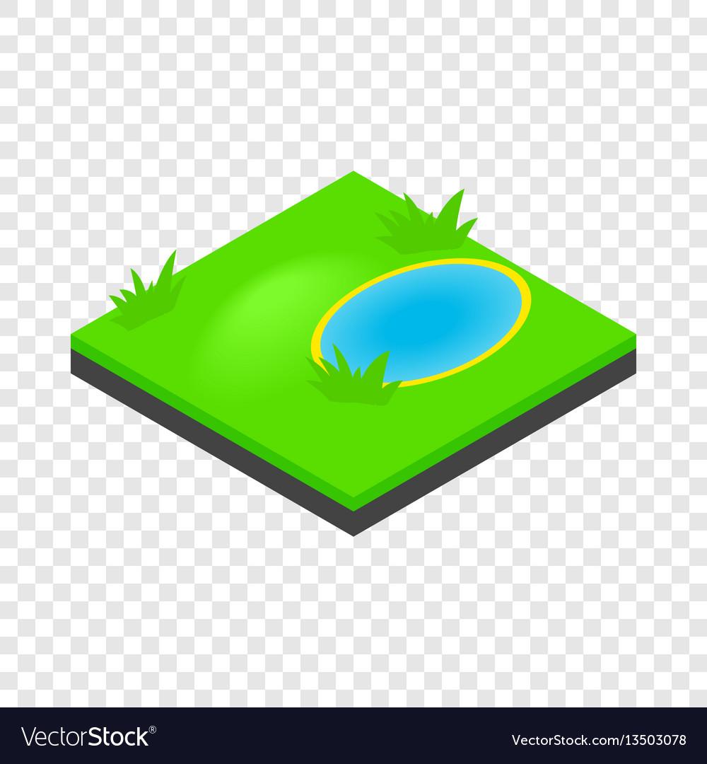 Lake landscape isometric icon vector image