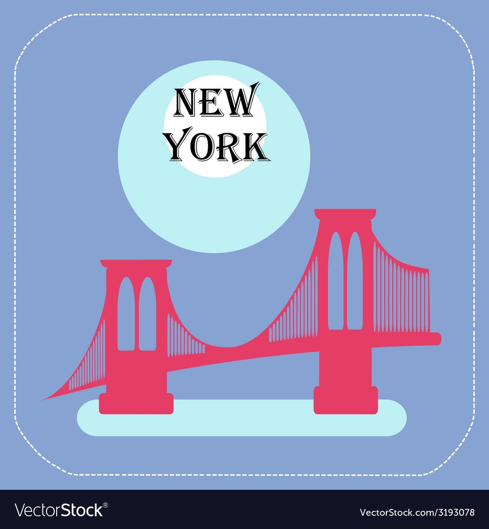New York City Manhattan Bridge icon flat vector image