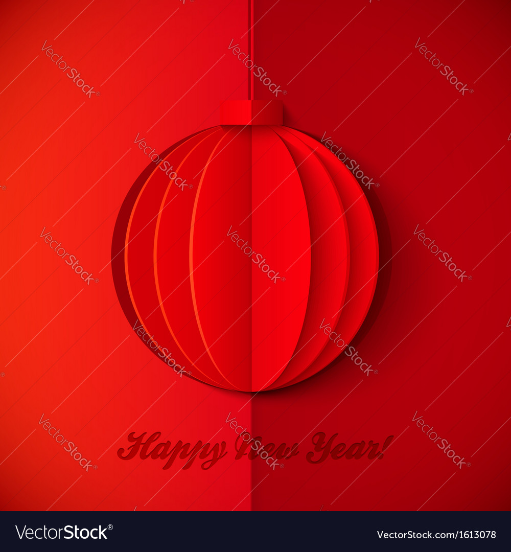 Red origami paper New Year ball vector image