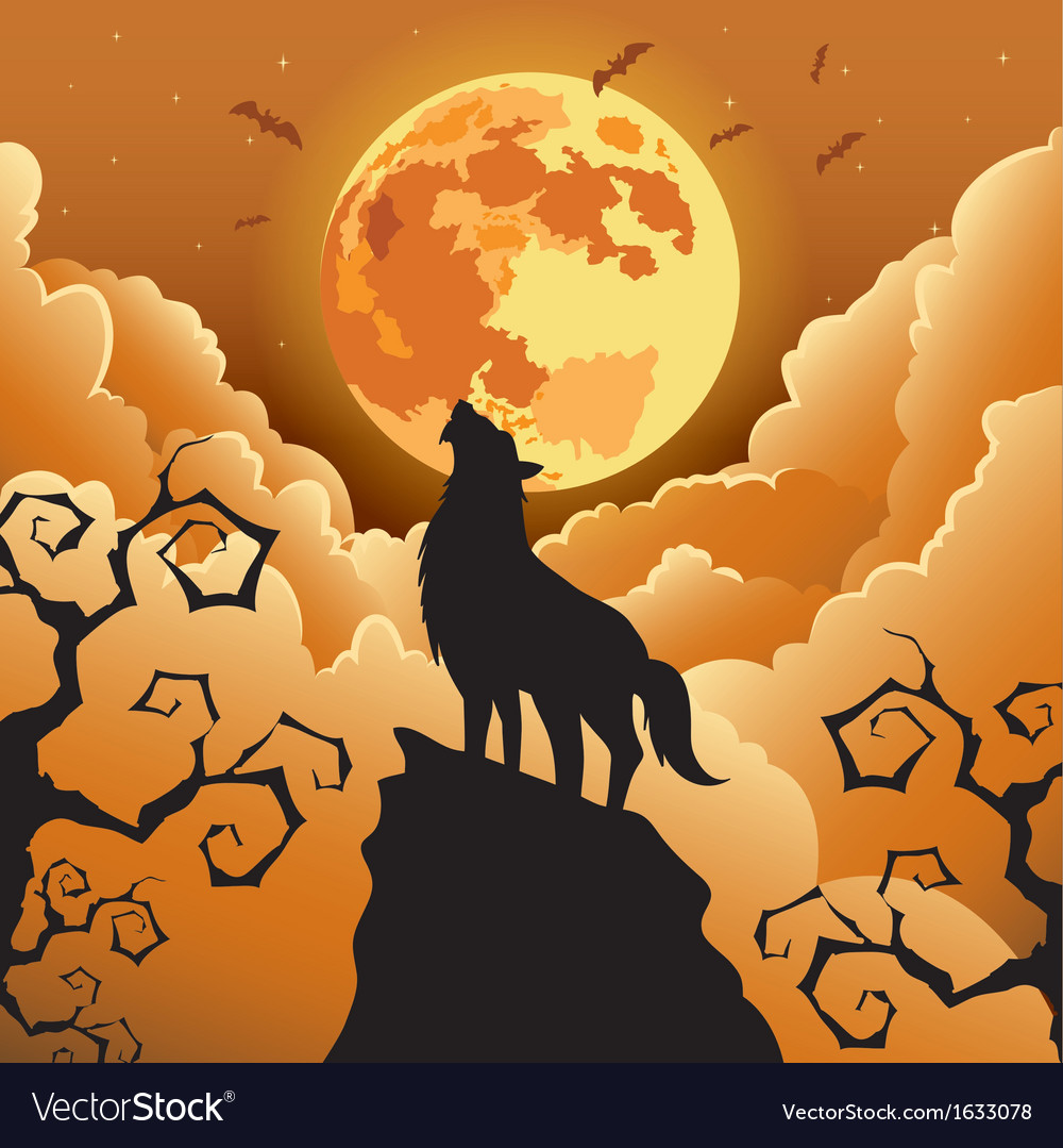 Silhouette Wolf howling at the moon