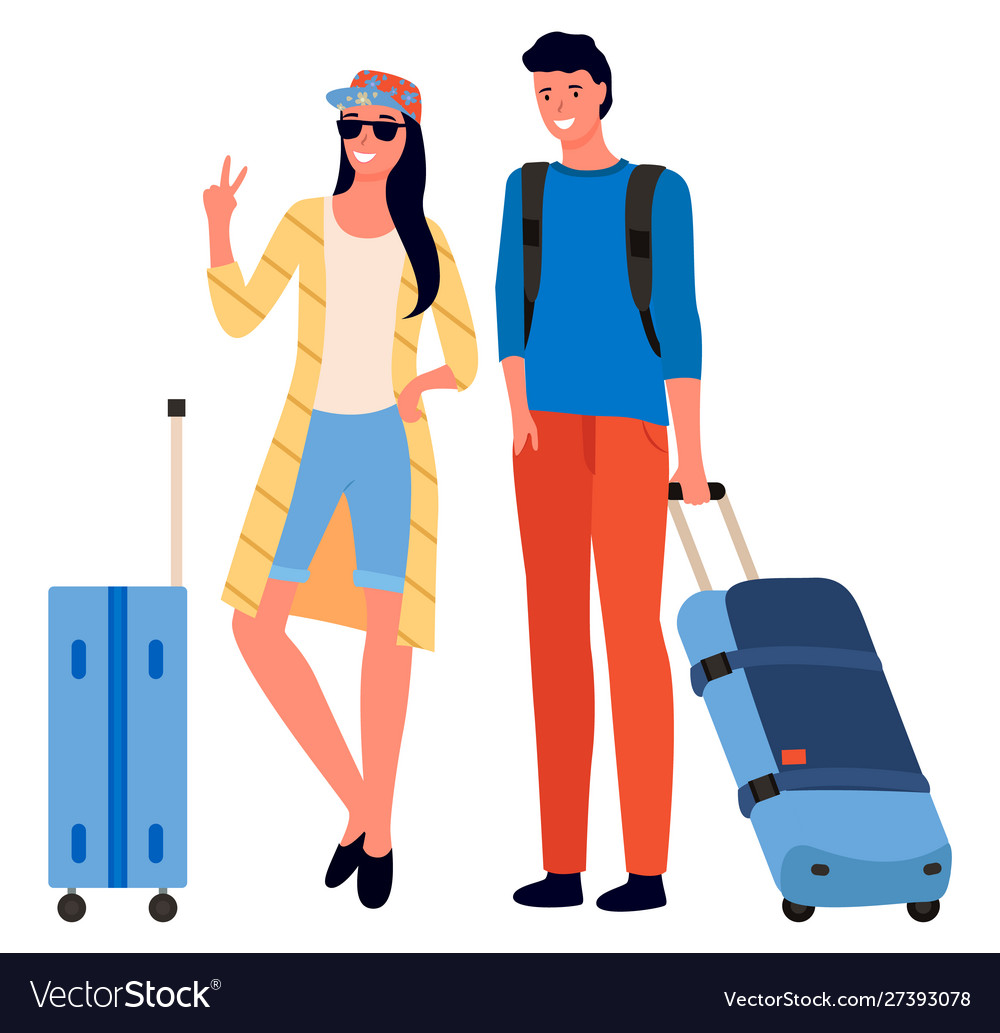 Traveling people with luggage and bags