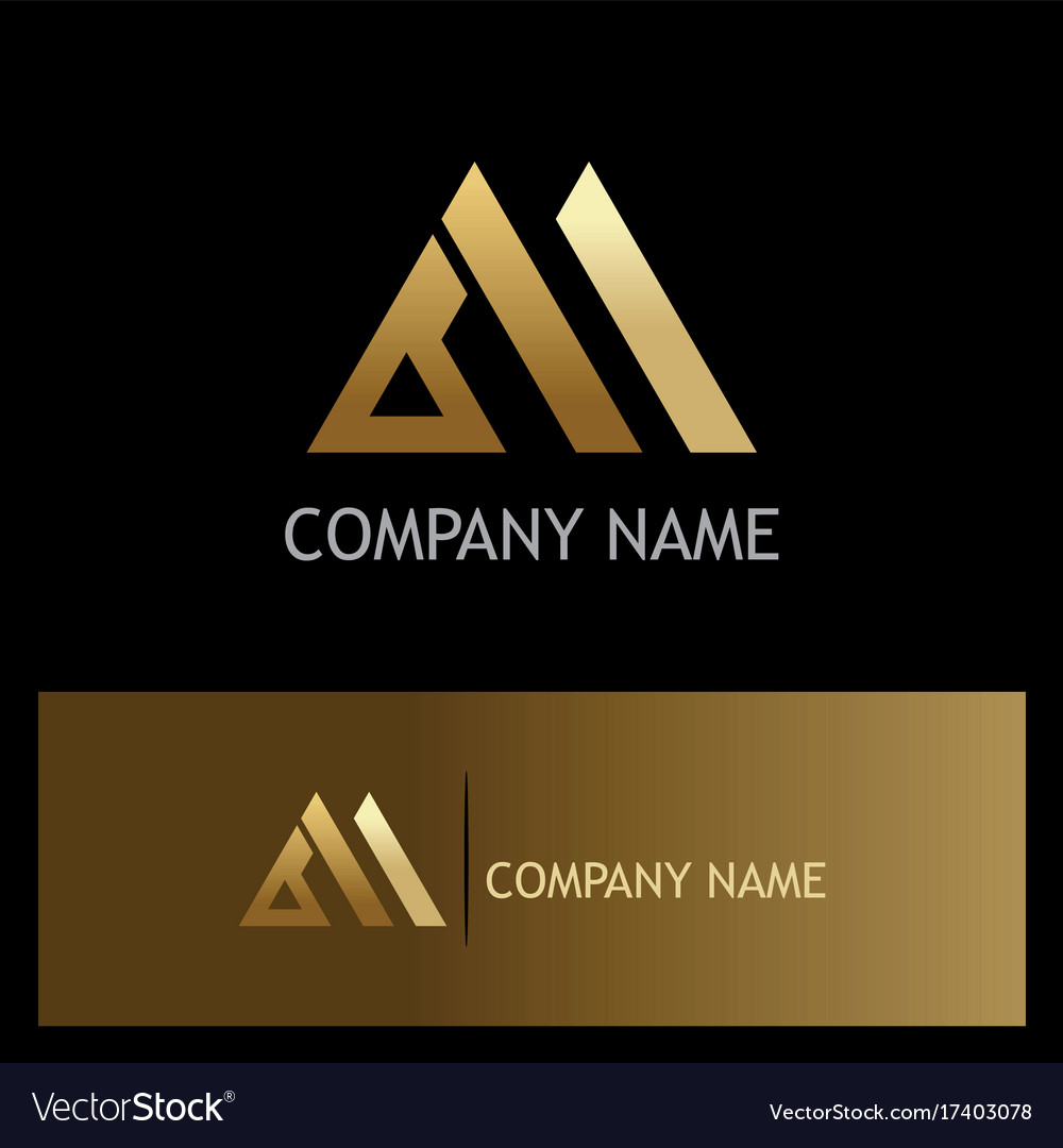 Triangle shape business gold logo Royalty Free Vector Image