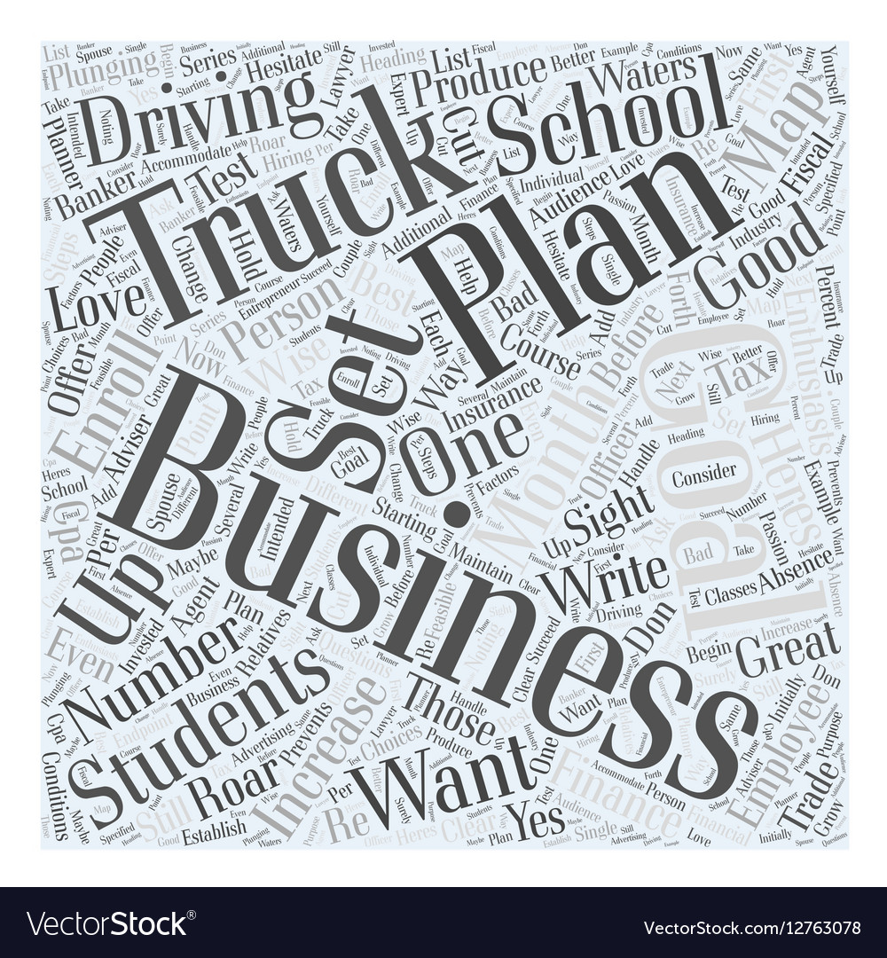 Truck driving school business plan Word Cloud vector image