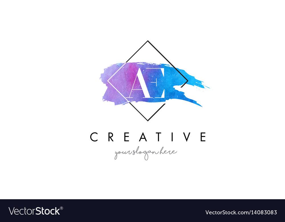 Ae artistic watercolor letter brush logo