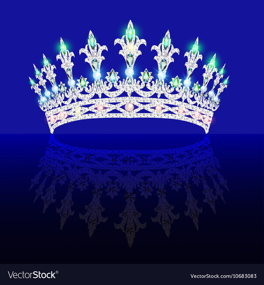 Beautiful crown tiara tiara with gems vector image