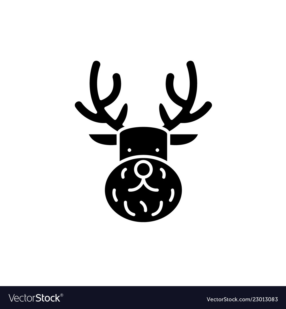 Christmas deer black icon sign on isolated