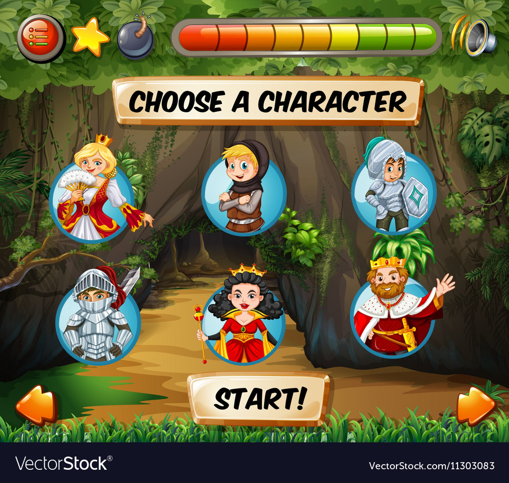 Computer game template with fairytales characters