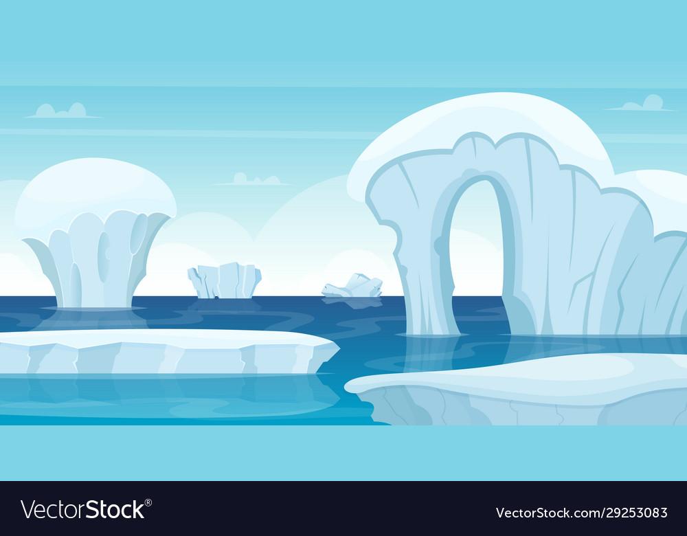 Ice rocks background north pole landscape white
