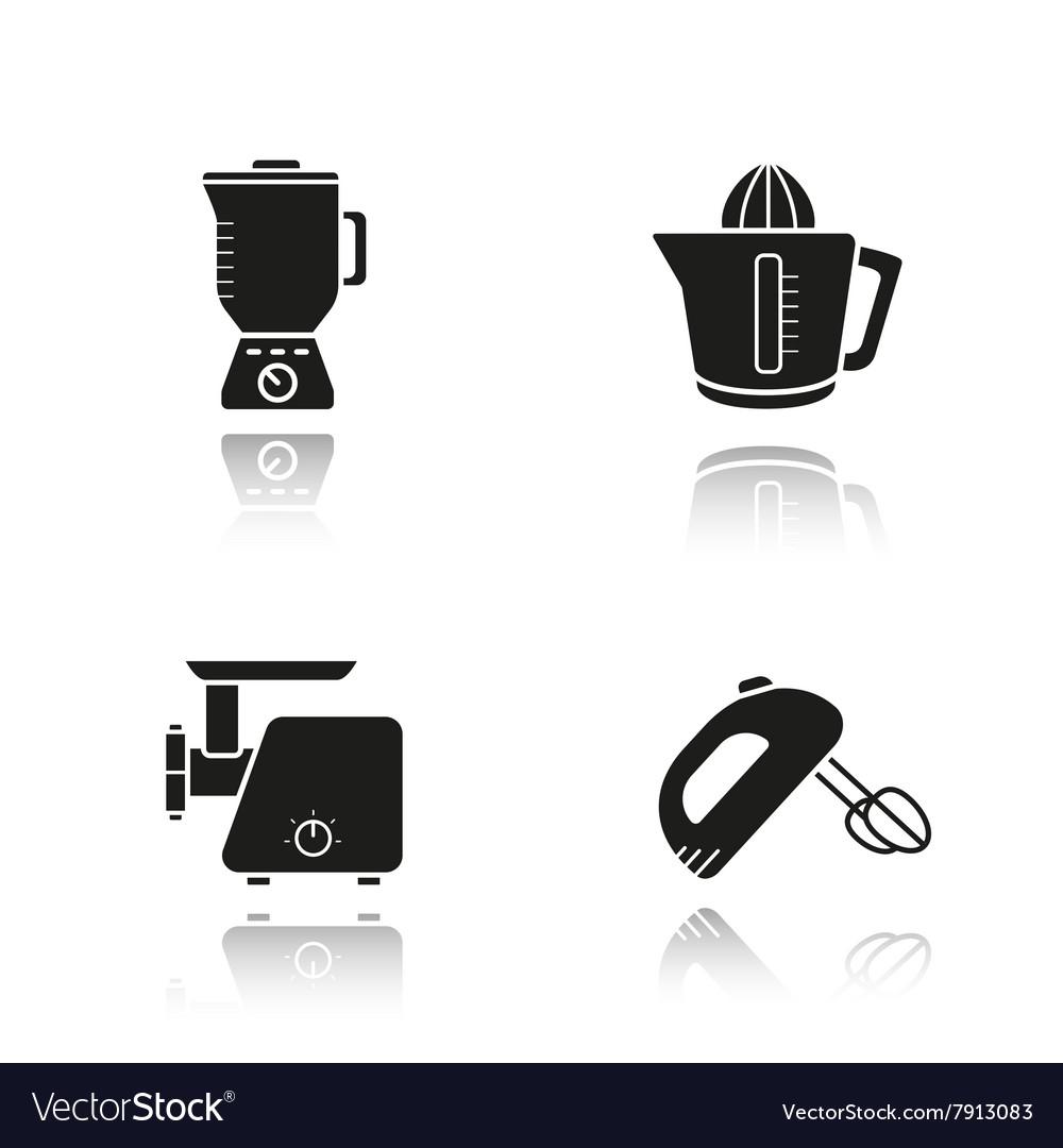 Kitchen tools drop shadow black icons set vector image