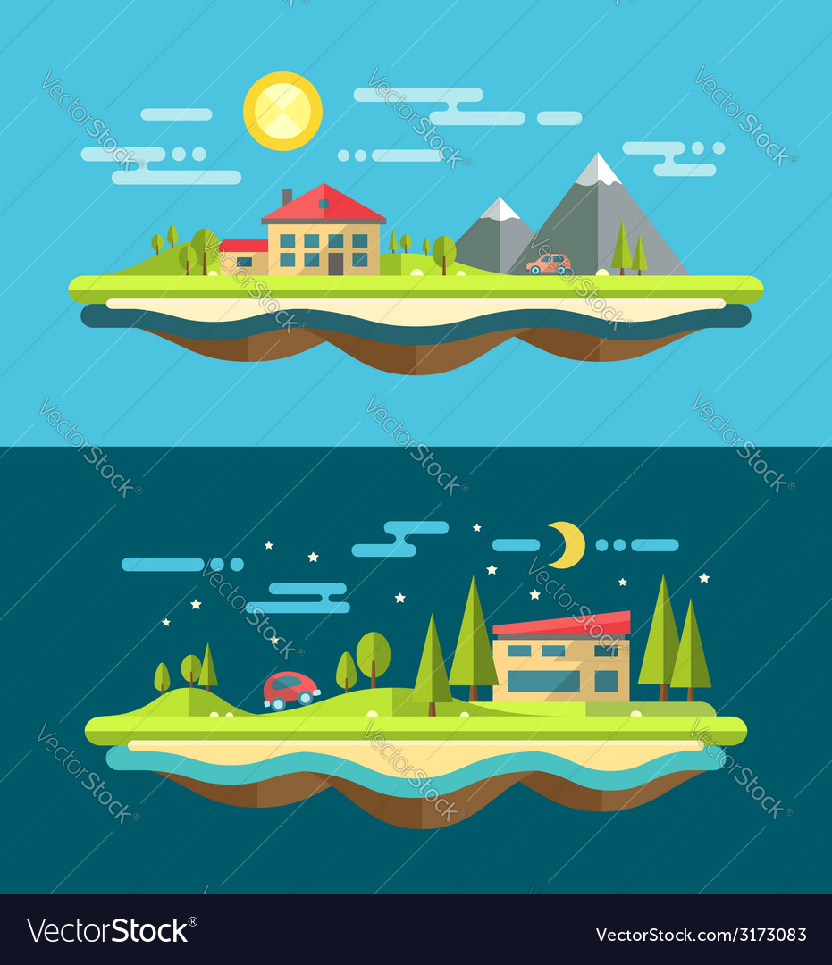 Modern flat design conceptual landscape with vector image